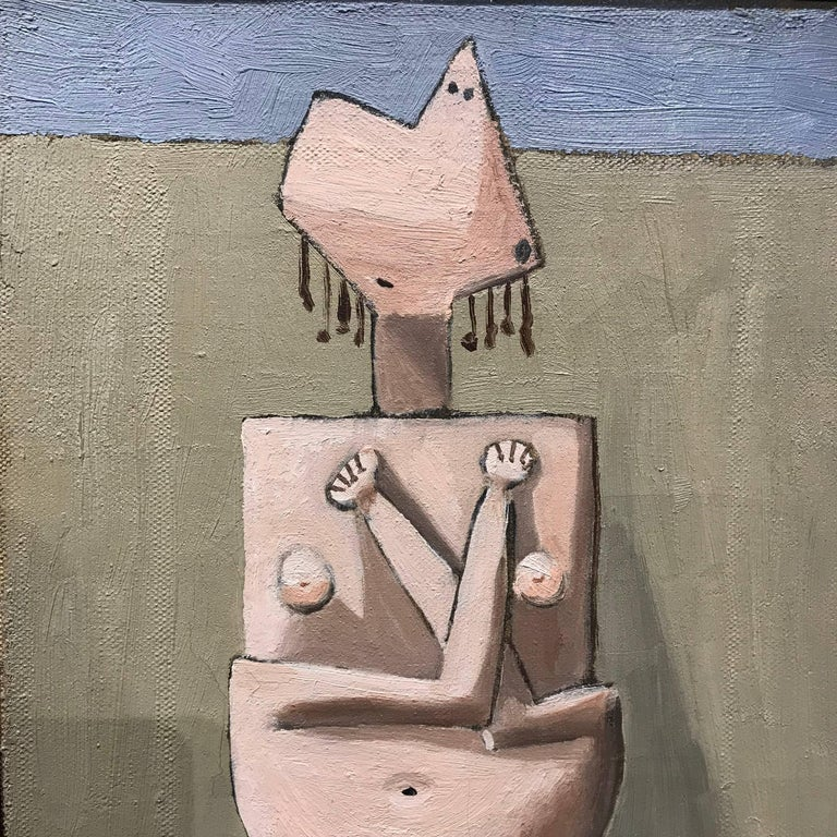 American Modernist Painting by Edgar Levy, Cubist Figure, c. 1932-1935 For Sale 2