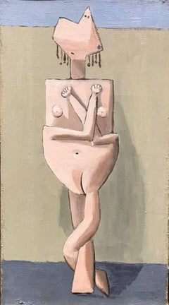 American Modernist Painting by Edgar Levy, Cubist Figure, c. 1932-1935