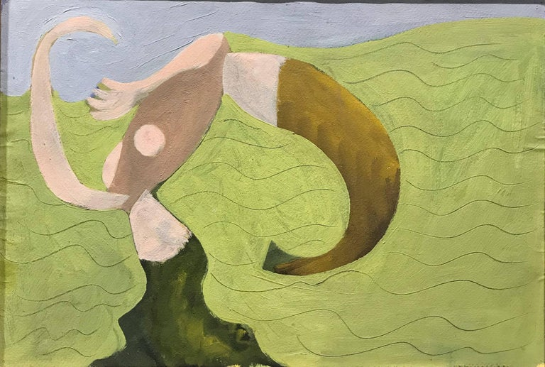 This abstract painting by American Modernist Edgar Levy features what appears to be a person on the beach. Levy is remembered as an artist of firm convictions, as well as a lively and articulate thinker.  Levy was an unusually inquisitive man.  As a