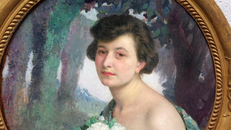 Masterfully painted portrait with rich paint surface by the famous French Symbolist Signed and dated lower left Provenance: Waterhouse & Dodd, London W.J. Morrill Ltd.  He was taught by Elie Delaunay and Gustave Moreau at the École des Beaux-Arts in