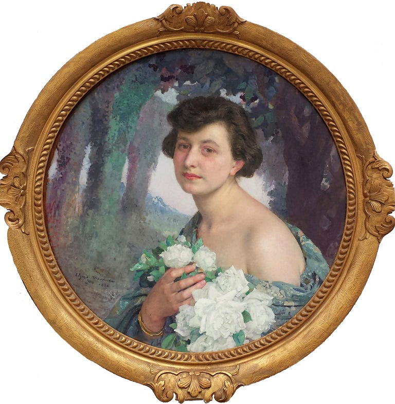 Elegant Woman holding White Roses Flowers , Portrait Champetre French Symbolist  For Sale 2