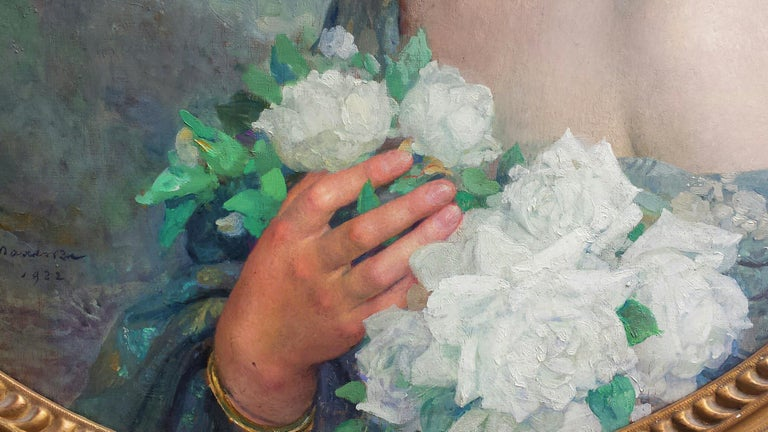 Elegant Woman holding White Roses Flowers , Portrait Champetre French Symbolist  For Sale 4