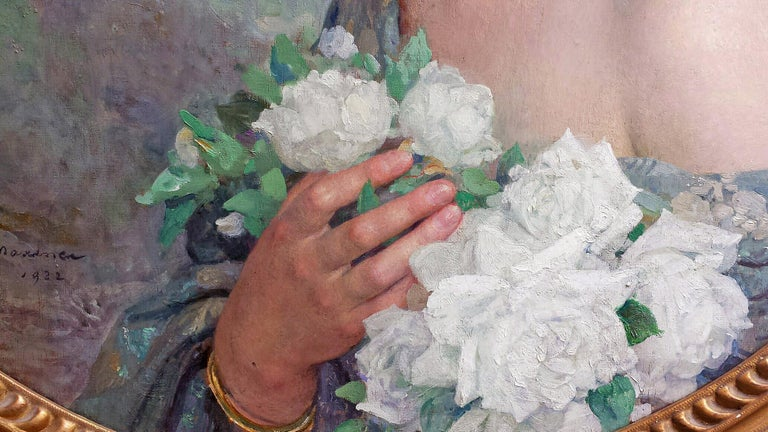 Elegant Woman holding White Roses Flowers , Portrait Champetre French Symbolist  For Sale 5
