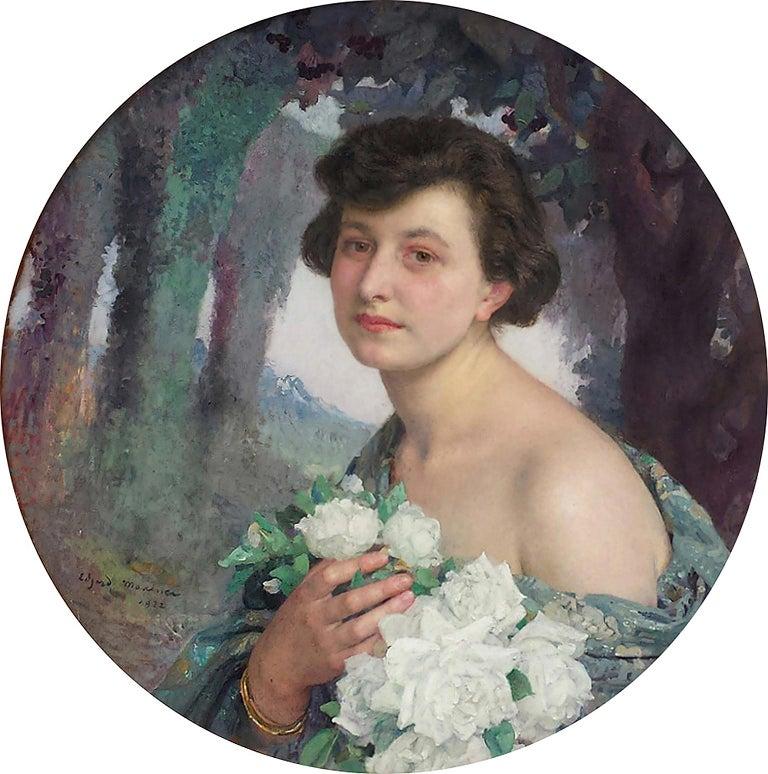 Edgar Maxence Portrait Painting - Elegant Woman holding White Roses Flowers , Portrait Champetre French Symbolist