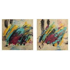Contemporary Bold Abstract Purple, Teal, Yellow and Black Diptych Painting