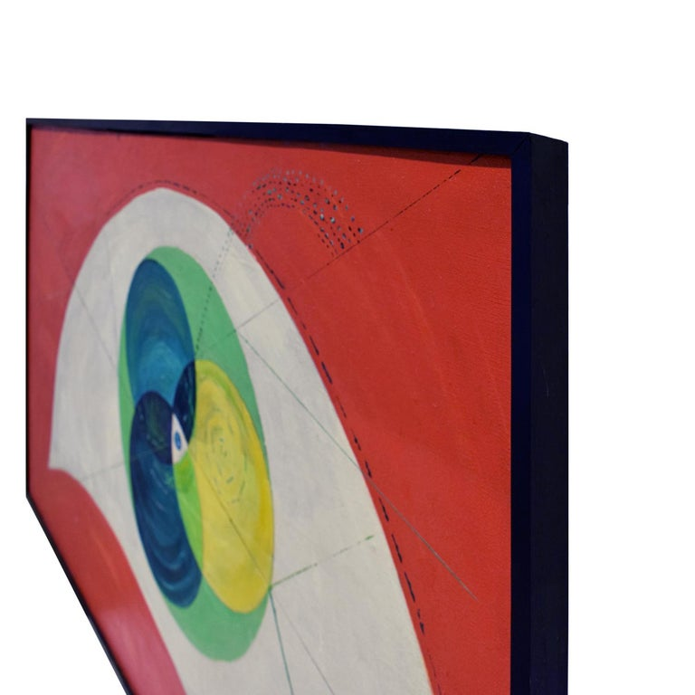 Mid-Century Modern Edgar O. Dale Graphic Painting on Canvas 1964 'Signed' For Sale