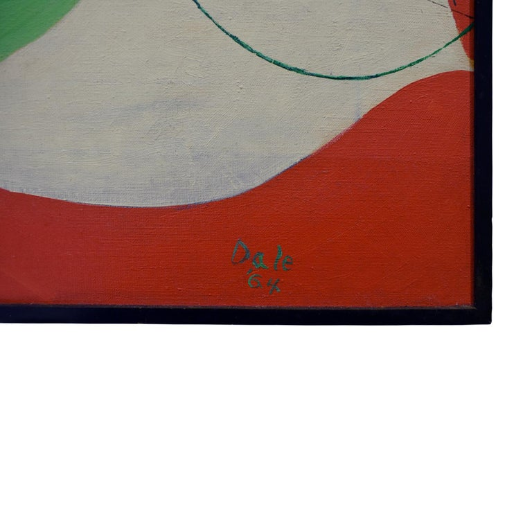 Hand-Crafted Edgar O. Dale Graphic Painting on Canvas 1964 'Signed' For Sale
