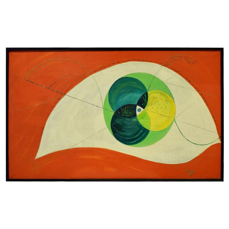 Edgar O. Dale Graphic Painting on Canvas 1964 'Signed' For Sale
