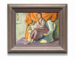 """""""Untitled"""" Woman on a Love Seat in a Lavender Dress, Oil on Canvas"""