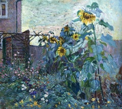 Sunflowers, Early 20th Century Belgian Post-Impressionist Flowers Landscape