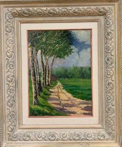 """""""Spring landscape"""" oil cm. 28 x 38  1934  green"""