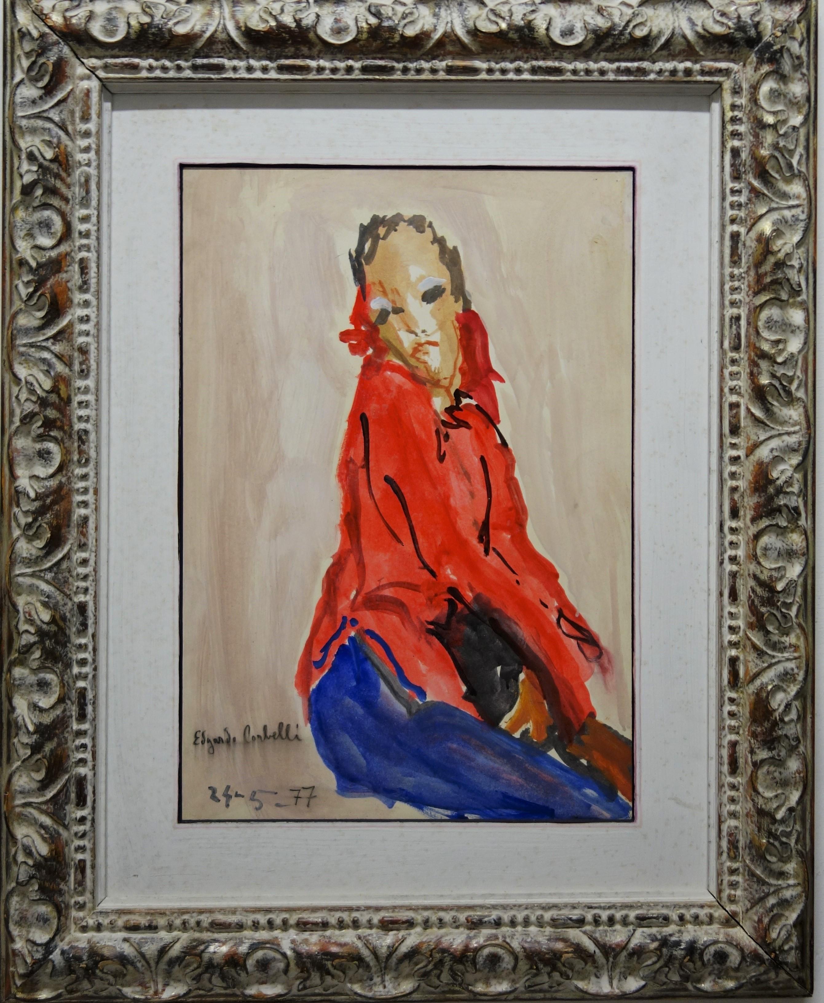 """""""Women in red """" cm. 35 x 52  oil  1977"""
