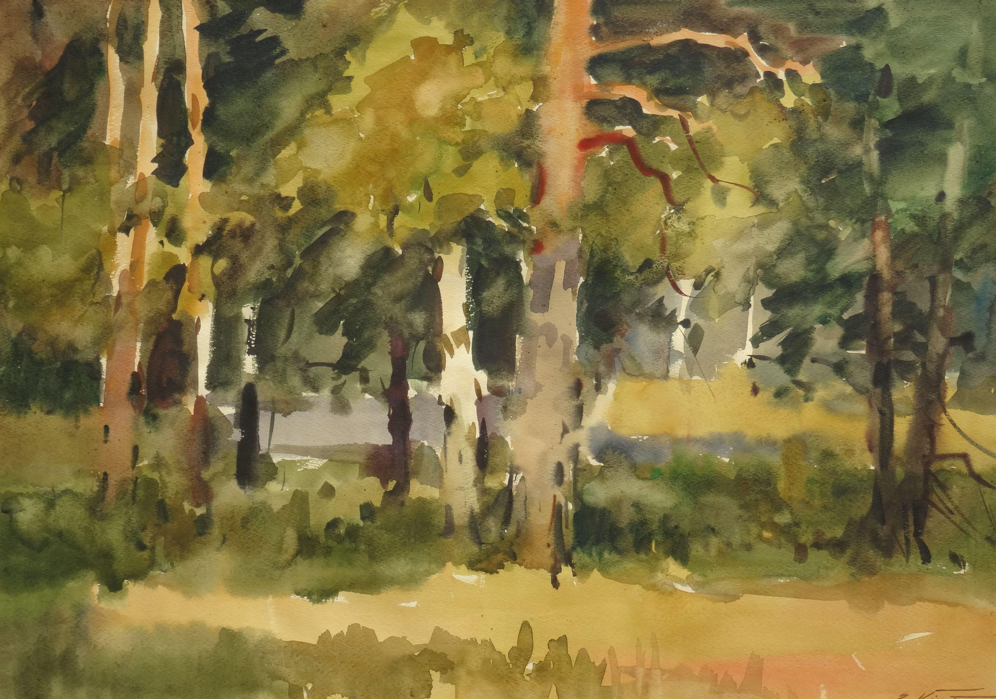 Sunny day in the forest. 1990. Watercolor on paper, 40x56,5 cm