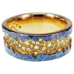 Edgy Fancy Vivid Yellow Diamond Designer Ring
