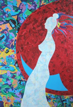 Costana Swaying on the Moon. Innocence of Desire, Painting, Acrylic on Canvas