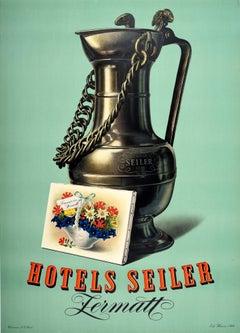 Original Vintage Poster Hotels Seiler Zermatt Switzerland Alps Summer Flowers