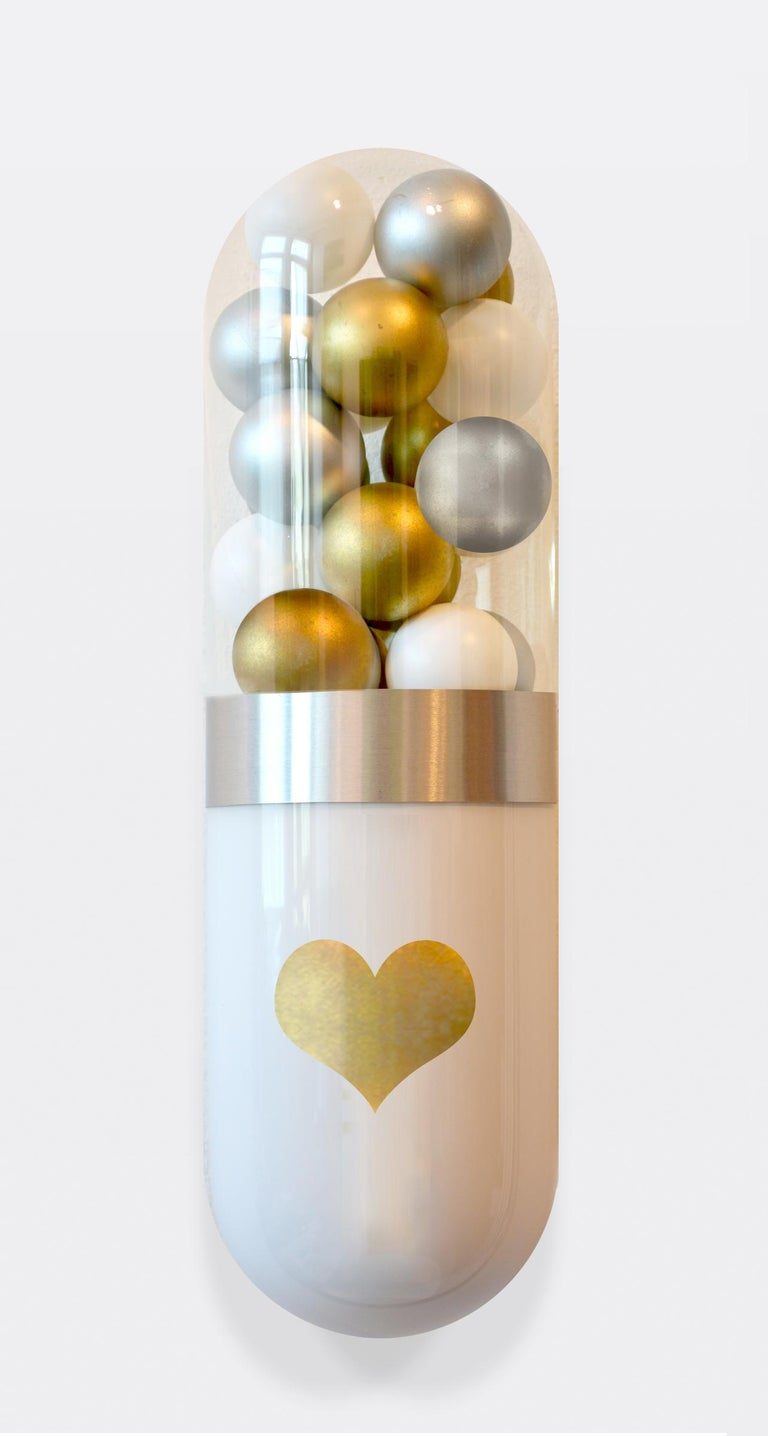 Glass sculpture - Series of 5 glass pill sculptures, wall installation  Playful, limited edition series of glass sculptures. Each piece is equipped with a D-ring on the back for easy hanging.  The series is an edition of 5. Each piece is signed and
