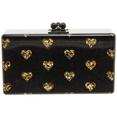 Edie Parker Black Gold Acrylic Heart Clutch