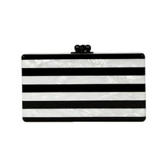 Edie Parker Black/White Stripe Acrylic Marble Minaudiere Clutch Bag