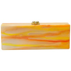 Edie Parker Brown/Orange Tiger Stripe Acrylic Clutch
