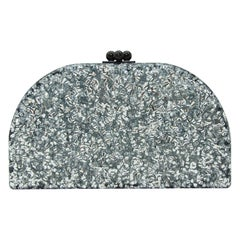 Edie Parker Silver Sparkle Half Oval Clutch