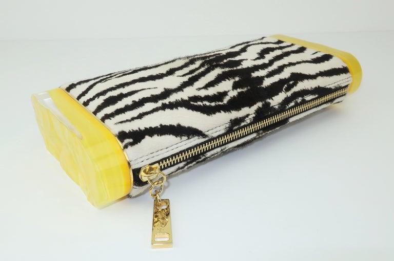 Edie Parker Zebra Print Calf Hair Clutch Handbag With Acrylic Details For Sale 5