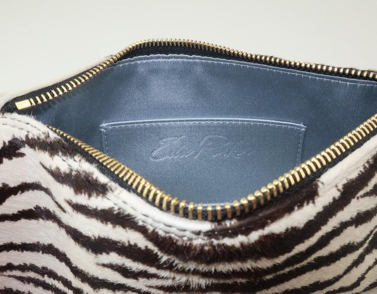 Edie Parker Zebra Print Calf Hair Clutch Handbag With Acrylic Details For Sale 6