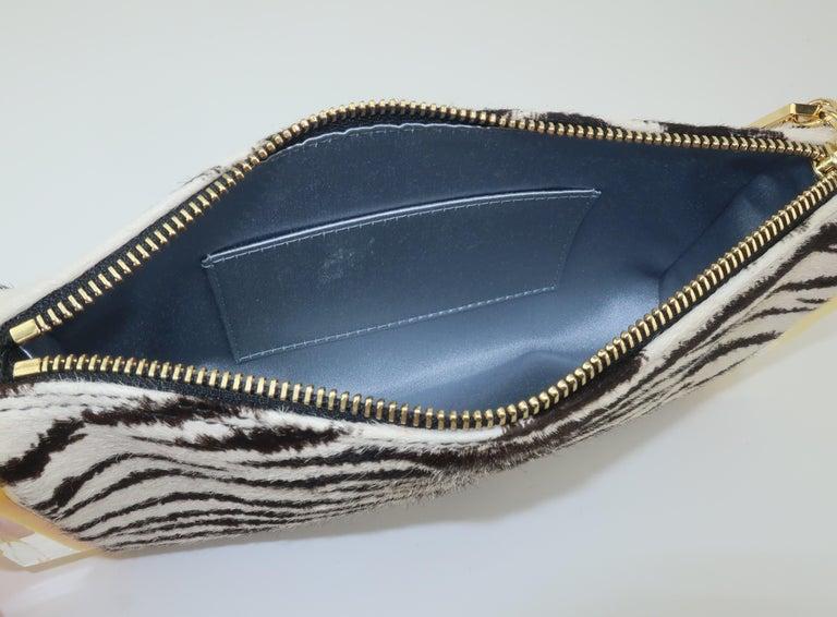 Edie Parker Zebra Print Calf Hair Clutch Handbag With Acrylic Details For Sale 7