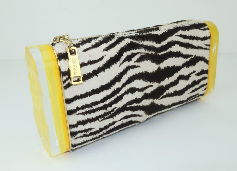 Edie Parker Zebra Print Calf Hair Clutch Handbag With Acrylic Details For Sale 8