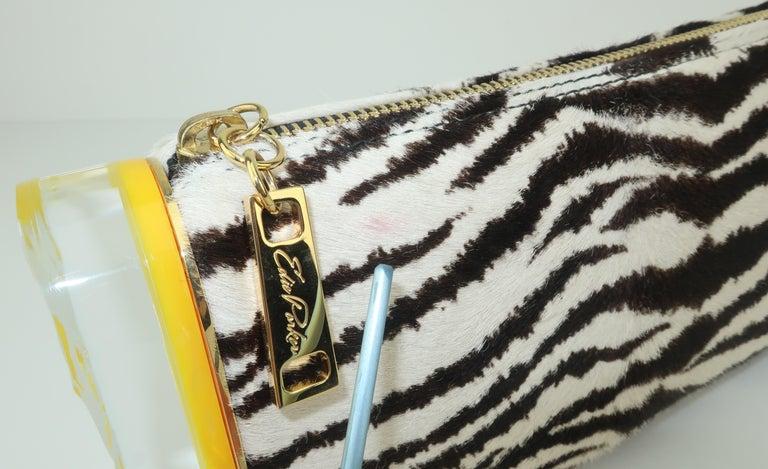 Edie Parker Zebra Print Calf Hair Clutch Handbag With Acrylic Details For Sale 9