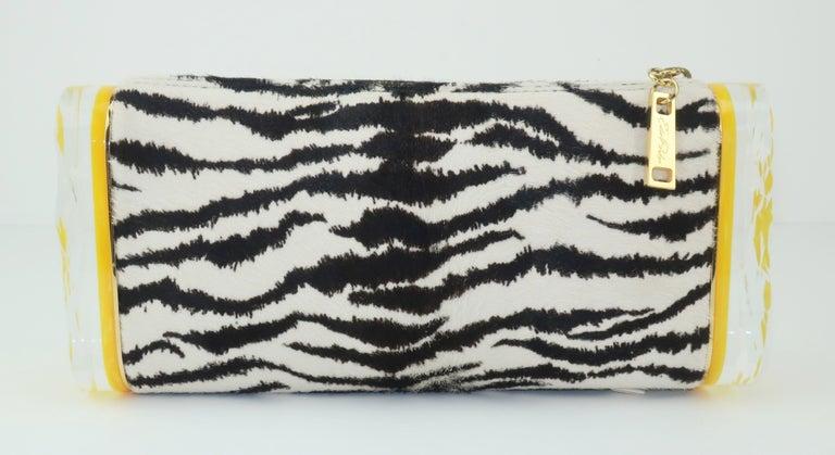 Beige Edie Parker Zebra Print Calf Hair Clutch Handbag With Acrylic Details For Sale