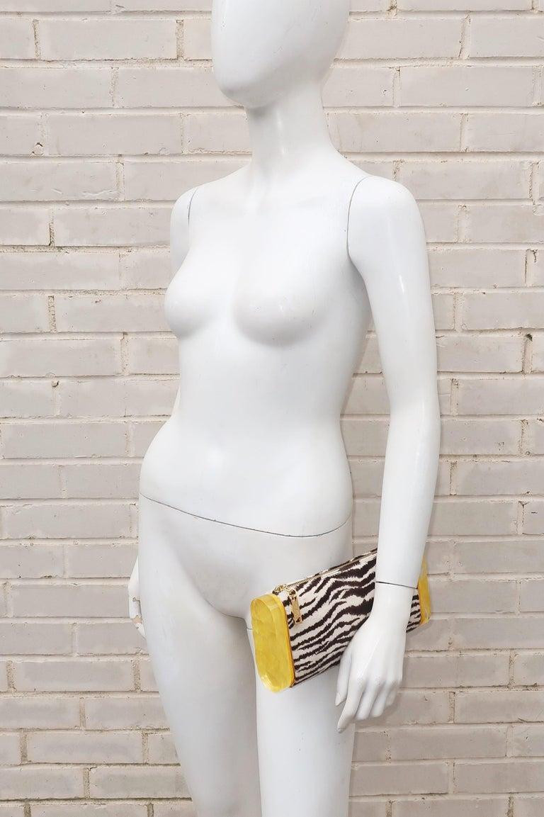 Edie Parker Zebra Print Calf Hair Clutch Handbag With Acrylic Details In Good Condition For Sale In Atlanta, GA