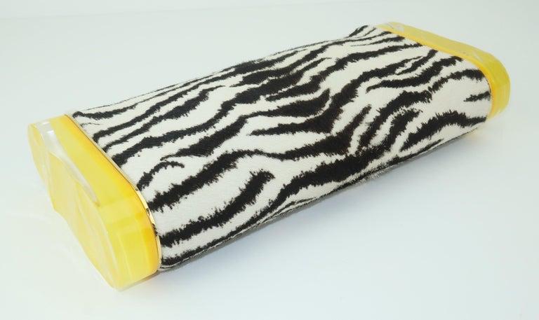 Women's Edie Parker Zebra Print Calf Hair Clutch Handbag With Acrylic Details For Sale