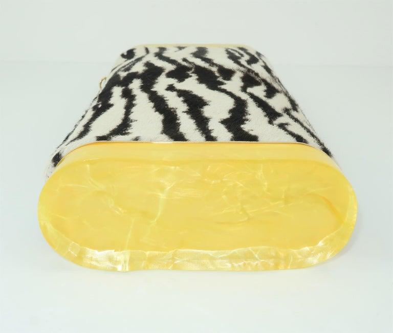 Edie Parker Zebra Print Calf Hair Clutch Handbag With Acrylic Details For Sale 1
