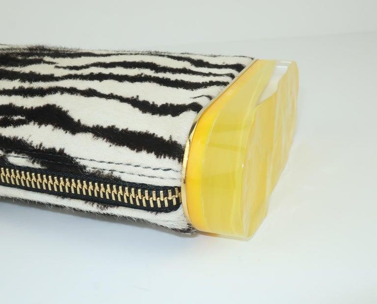Edie Parker Zebra Print Calf Hair Clutch Handbag With Acrylic Details For Sale 2