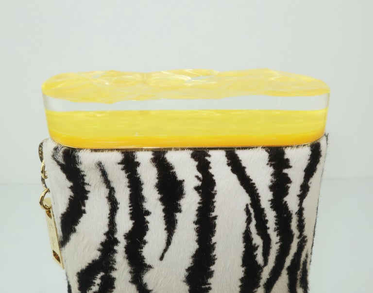 Edie Parker Zebra Print Calf Hair Clutch Handbag With Acrylic Details For Sale 3