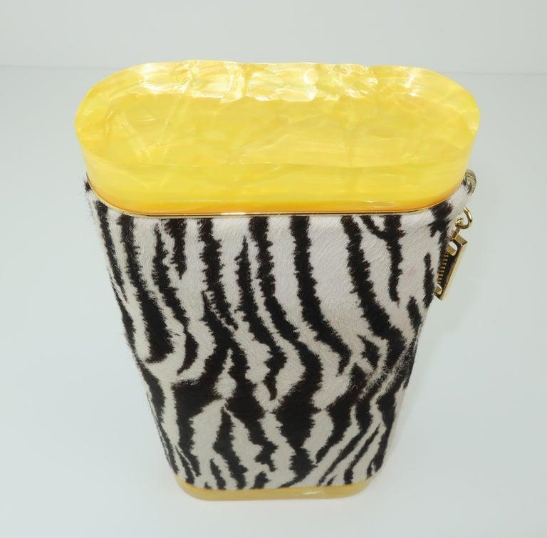 Edie Parker Zebra Print Calf Hair Clutch Handbag With Acrylic Details For Sale 4