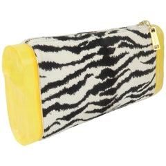 Edie Parker Zebra Print Calf Hair Clutch Handbag With Acrylic Details