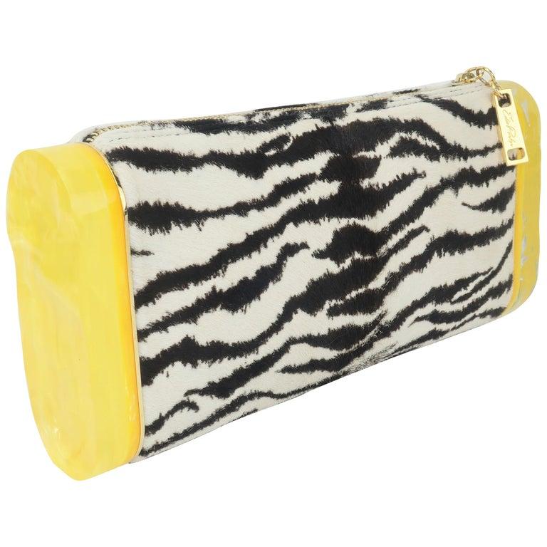Edie Parker Zebra Print Calf Hair Clutch Handbag With Acrylic Details For Sale