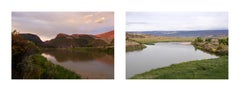 """diptych from series Sight Seen; """"Gates of Lodore, dawn"""" and """"Green River, raft"""""""