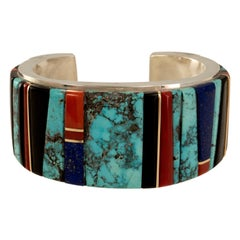 Edison Cummings Bisbee Turquoise, Lapis, Coral, Wood, Gold & Silver Cuff