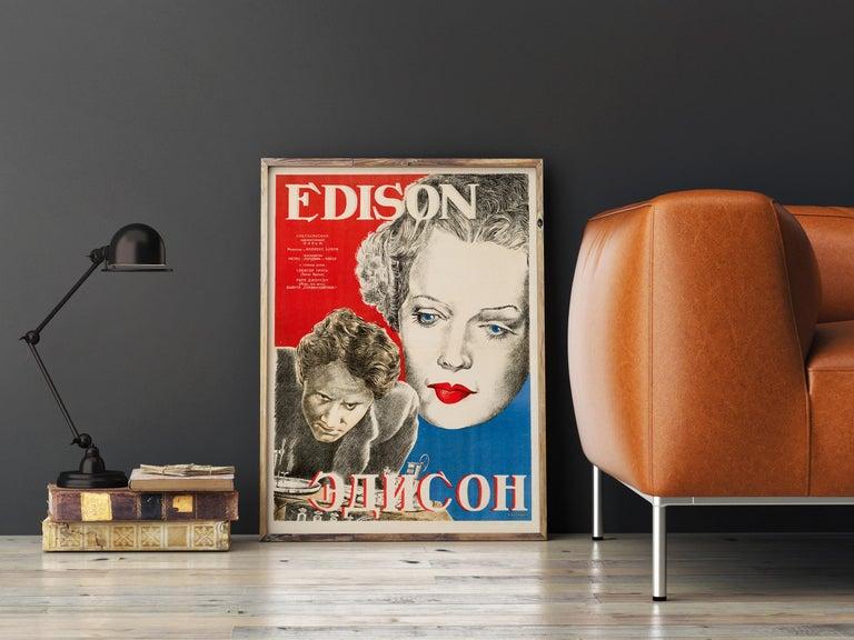 Mid-Century Modern 'Edison the Man' Original Vintage Movie Poster, Russian, 1944 For Sale