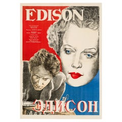 'Edison the Man' Original Vintage Movie Poster, Russian, 1944