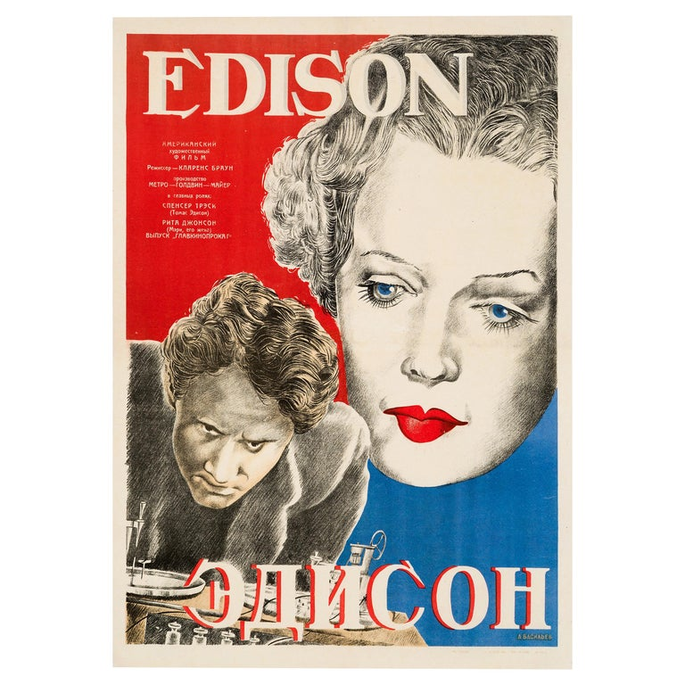 'Edison the Man' Original Vintage Movie Poster, Russian, 1944 For Sale