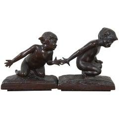 "Edith Barretto Parsons Bronze Bookends ""Children Playing"" Gorham Sculptures"
