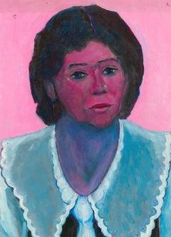 Edith Birkin (1927-2018) - 1990 Acrylic, Portrait of a Lady