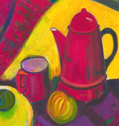 Edith Birkin (1927-2018) - 20th Century Acrylic, Still Life with Coffee Pot