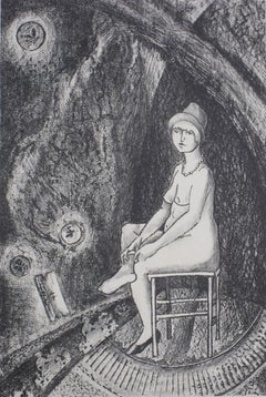 """""""A String of Beads"""" Seated Figure, Lithograph, Circa 1930s"""