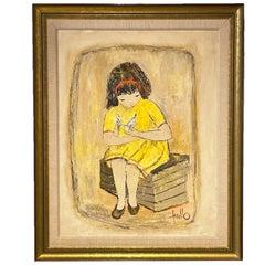 Large Edith Ferullo 'Girl in Yellow Dress w. Bird' Framed Painting on Board