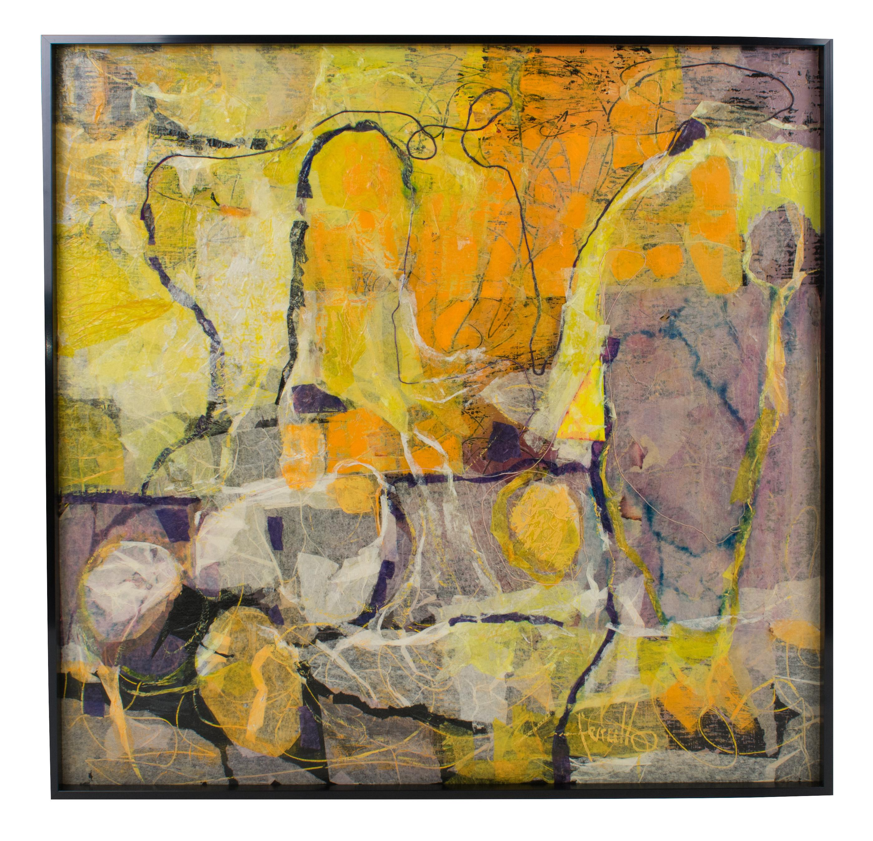 Mid Century Abstract Colorful Collage Painting by Edith Ferullo